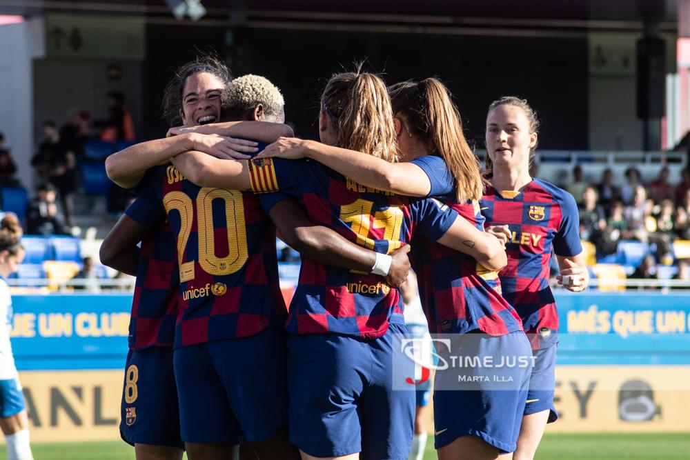 Celebración del primer gol del FC Barcelona