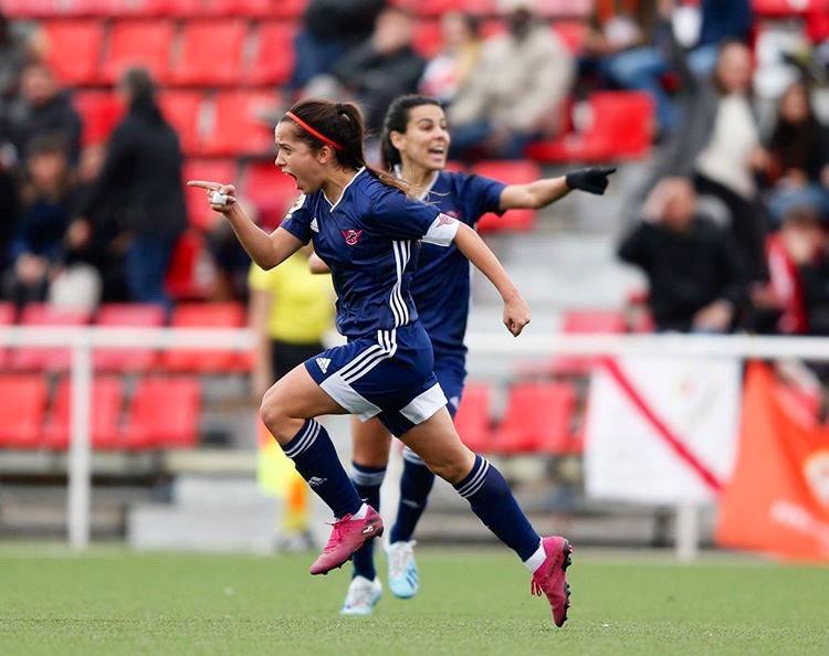 Malena Ortiz, CD Tacón, tras marcar su primer gol como profesional