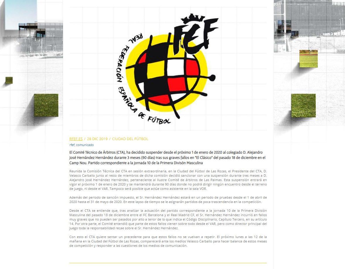 Comunicado RFEF y CTA