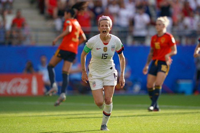 Megan Rapinoe tras marcar ante España