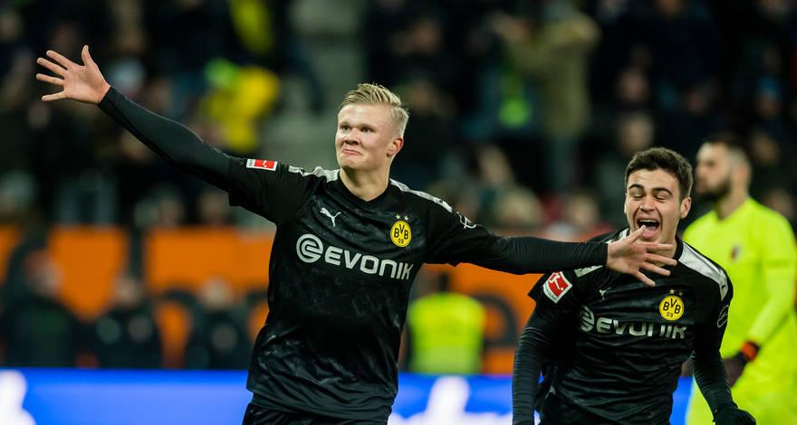 Haaland celebrando su hat-trick, vía web Borussia Dortmund (https://www.bvb.de/es/)