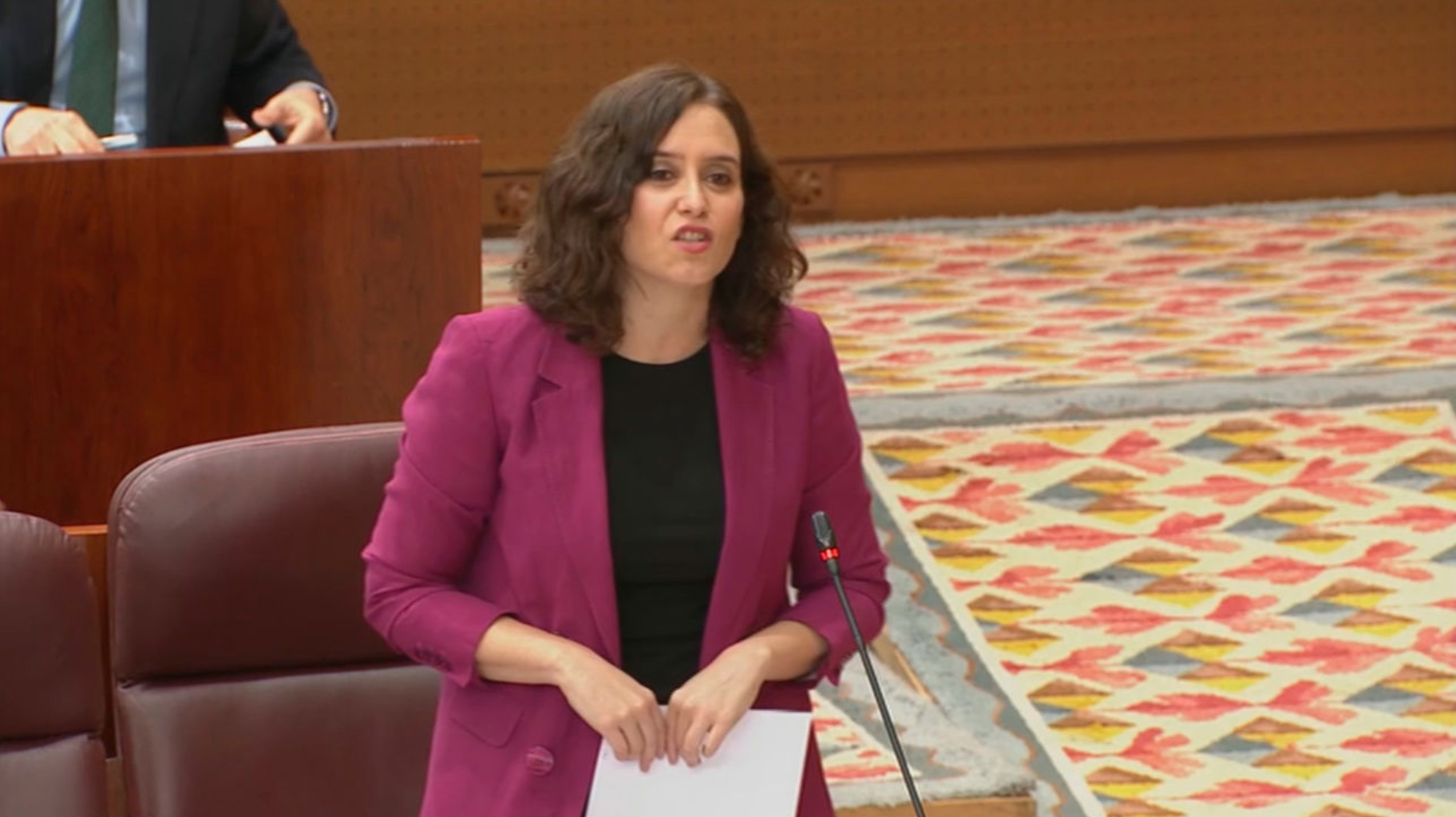 Isabel Díaz Ayuso, presidenta de la Comunidad de Madrid, en la Asamblea de Madrid durante la sesión de control al Gobierno de este jueves | TimeJust