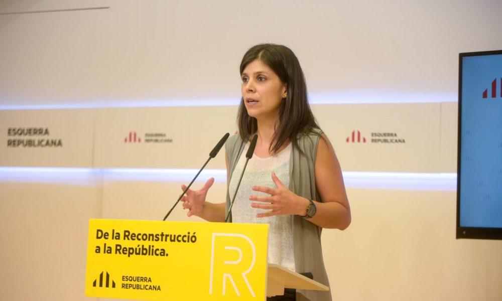 Marta Vilalta durante la rueda de prensa de hoy.