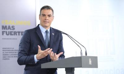 Pedro Sánchez durante la comparecencia en el Palacio de La Moncloa | Imagen: TimeJust