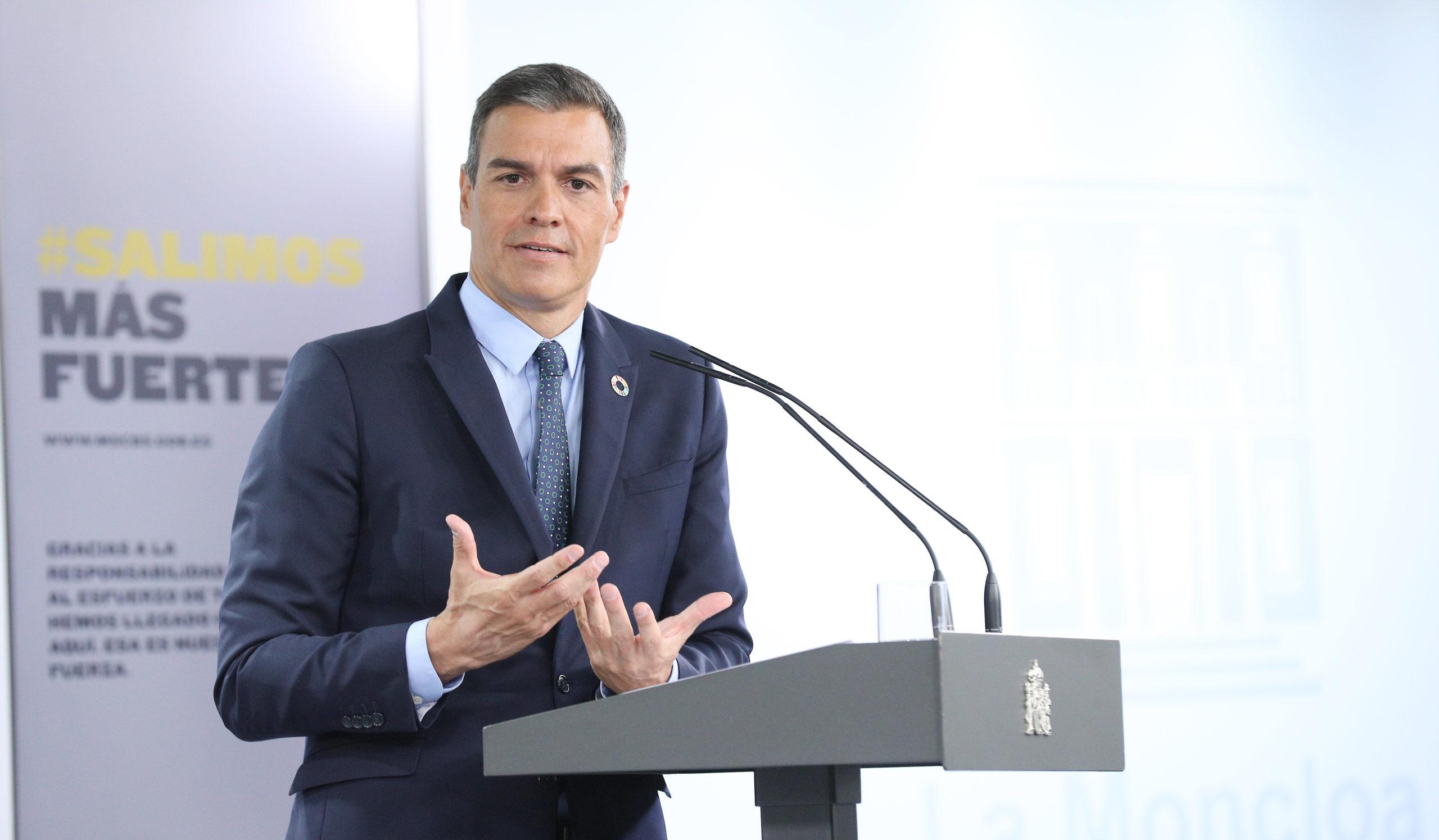 Pedro Sánchez durante la comparecencia en el Palacio de La Moncloa   Imagen: TimeJust