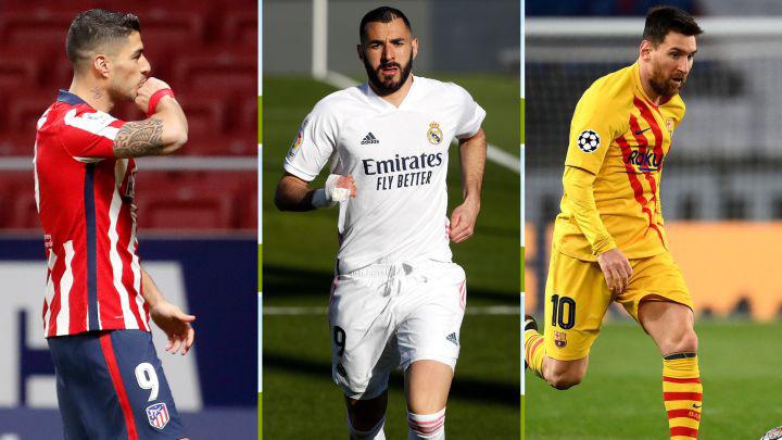 Suárez, Benzema y Messi.