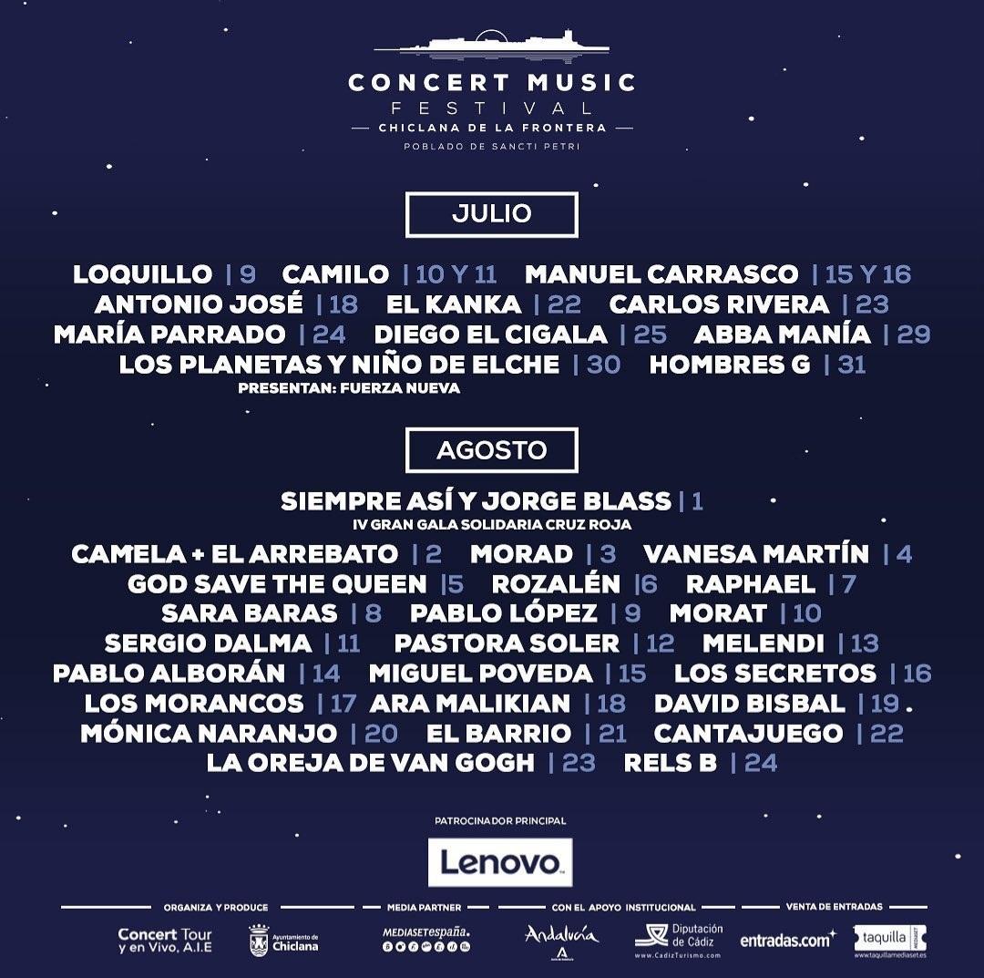 """Los 38 artistas nacionales e internacionales confirmados para los eventos de este año en julio y agosto en el Concert Music Festival para la IV edicion"""""""